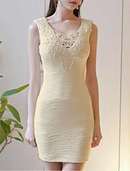 Damen Bodycon Kleid-Party Retro Solide Rundhalsausschnitt Mini Ärmellos Baumwolle Sommer Mittlere Hüfthöhe Unelastisch Dünn