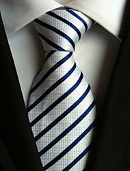 Cravate ( Bleu / Blanc , Polyester ) Rayé