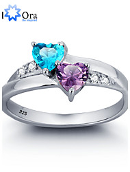 Anéis Formato de Coração Casamento / Pesta / Diário / Casual Jóias Prata de Lei / Zircão Feminino Anéis Grossos 1pç,6 / 7 / 8 Prateado