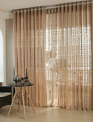 cheap -Grommet Top Pencil Pleat Two Panels Curtain Modern, Hollow Out Solid Stripe Curve Living Room Polyester Material Sheer Curtains Shades