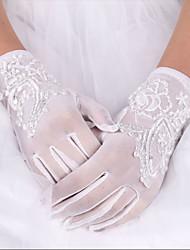 cheap -Silk Elastic Satin Wrist Length Glove Bridal Gloves Elegant Style