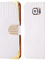 abordables -Funda Para Samsung Galaxy Soporte de Coche Diamantes Sintéticos con Soporte Flip Funda de Cuerpo Entero Color sólido Dura Cuero de PU para