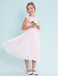 cheap -A-Line Scoop Neck Tea Length Chiffon / Lace Junior Bridesmaid Dress with Lace / Flower by LAN TING BRIDE® / Natural