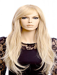 Women Synthetic Wig Capless Long Wavy Blonde Middle Part With Bangs Halloween Wig Carnival Wig Costume Wigs