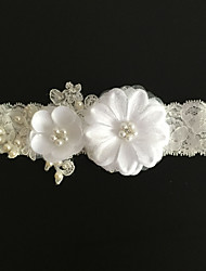 cheap -Lace Fashion Wedding Garter with Imitation Pearl Flower Garters