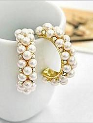Недорогие -Жен. Синтетический алмаз Серьги-гвоздики / Серьги-кольца - Жемчуг, Искусственный жемчуг, Цирконий Роскошь Цвет экрана Назначение / Искусственный бриллиант