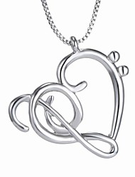 cheap -New Korean Jewelry Pierced Heart Necklace