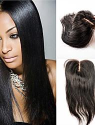 Недорогие -волосы шнуровке человек прямой девственницей закрытие волос 12inch средней части закрытие волос