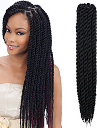 "cheap -Twist Braids Hair Braid Havana 100% Kanekalon Hair Dark Black 12"" 24"" Braiding Hair Hair Extensions"