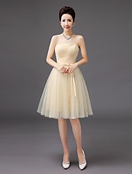 A-Line Strapless Knee Length Tulle Bridesmaid Dress with Bow by QQC Bridal