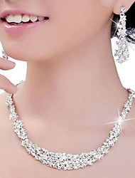 cheap -Women's Crystal Rhinestone Wedding Party Anniversary Engagement Silver Earrings Necklaces