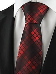 Check Pattern Dark Red Mens Tie Formal Suits Necktie Wedding Holiday Gift KT1063