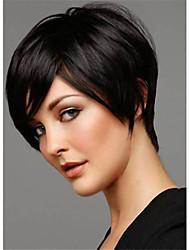 100% cabelo humano bobo curtos franja cheia reta sem tampa peruca de cabelo preto