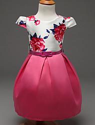 お買い得  -女の子の お出かけ ポリエステル ドレス 春 夏 秋 ノースリーブ ドレスウェア フクシャ ピンク
