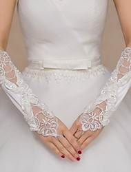 Lace Satin Elbow Length Glove Bridal Gloves Party/ Evening Gloves With Beading Embroidery Sequins
