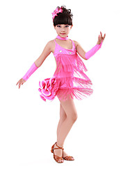 cheap -Latin Dance Dresses Children's Performance Cotton Spandex Crystals/Rhinestones Tassel Sleeveless High Dress Gloves Neckwear