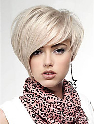 cheap -Natural Light Blonde Straight Lambskin Short Wig For Woman free shipping