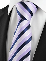 KissTies Men's Striped Lilac Navy Microfiber Tie Necktie For Wedding Party Holiday With Gift Box
