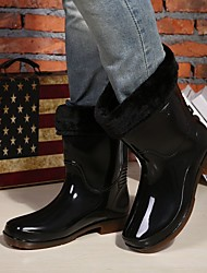 Mens Rubber Welly Shoes Rain Boots Garden Rain Snow Outdoor/Athletic/Casual Waterproof  Rain Shoes with Tie and Lining
