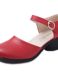 "cheap -Women's Modern Leather Sandal Outdoor Buckle Cuban Heel Black White Red Brown 1"" - 1 3/4"" Non Customizable"