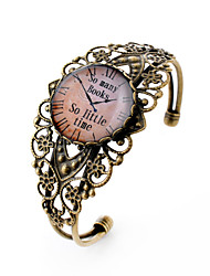 Lureme® Vintage Jewelry Time Gem Series Pocket watch Antique Bronze Hollow Flower Open Bangle Bracelet for Women