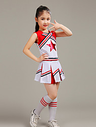 cheap -Cheerleader Costumes Outfits Children's Performance Polyester Ruffles Sleeveless High Top Skirt