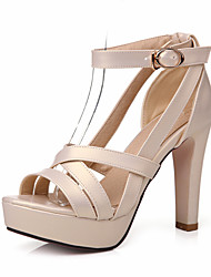 Women's Shoes Chunky Heel Peep Toe / Platform Sandals Wedding / Party & Evening / Dress Black / Pink / White / Almond
