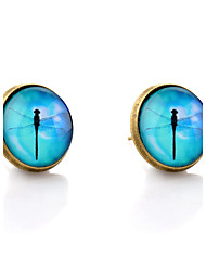 Lureme® Vintage Jewelry Time Gem Series Blue Sky with Dragonfly Antique Bronze Disc Stud Earrings for Women and Girl