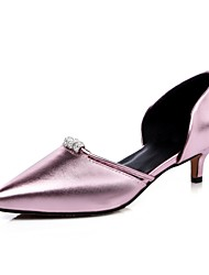 cheap -Women's Shoes Leatherette Spring Summer D'Orsay & Two-Piece Kitten Heel for Office & Career Dress Party & Evening Silver Red Green Pink