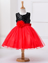 cheap -Girl's Dress, Polyester Summer Sleeveless Lace Red
