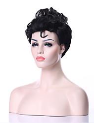 Donna Parrucche sintetiche Senza tappo Riccio Nero parrucca nera costumi parrucche