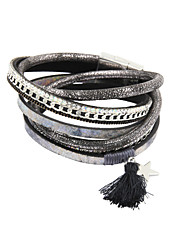 Fashion Trendy 3 Rows Chain/Crystal Set/Leaf/Fur Charm Leather Wrap Bracelet Christmas Gifts