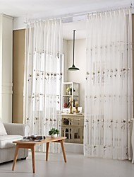 Two Panels Country Vine White Living Room Sheer Curtains Shades