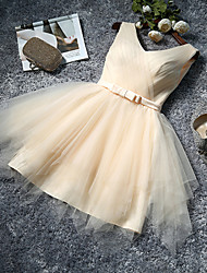 A-Line V-neck Knee Length Tulle Bridesmaid Dress with Bow by QQC Bridal