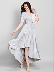 A-Line V-neck Asymmetrical Jersey Bridesmaid Dress with Criss Cross by LAN TING BRIDE®