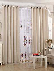 Anéis Único Plissado Dois Painéis Tratamento janela Regional Europeu , Sólido Sala de Estar Linho Material Cortinas Blackout Decoração