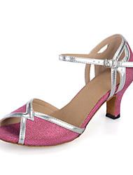 cheap -Women's Salsa Sparkling Glitter Satin Synthetic Sandal Sneaker Heel Performance Sparkling Glitter Buckle Hollow-out Flared Heel Pink Blue