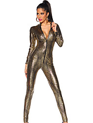 cheap -Women's Leopard PVC Full Sleeve Catsuit Outfit Fancy Dress