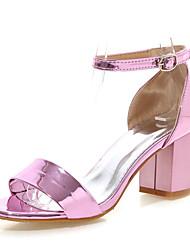 abordables -Femme Chaussures Similicuir Eté Talon Bottier pour Habillé Argent Rouge Rose Doré