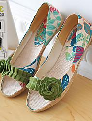 Недорогие -Для женщин Обувь Дерматин Весна Лето Осень На низком каблуке Цветы Назначение Повседневные Для праздника Лиловый Зеленый