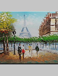 cheap -Mini Size Hand-Painted Paris Eiffel Tower Landscape Modern Oil Painting On Canvas One Panel Ready To Hang