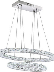Modern LED Crystal Pendant Light with Oval Double Ring AC100 to 240v for Dining Room Living Room CE FCC UL