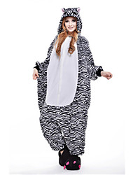 preiswerte -Kigurumi Pyjama Zebra Einteiler Pyjamas Kostüm Polar-Fleece Schwarz Cosplay Für Erwachsene Tiernachtwäsche Karikatur Halloween Fest /
