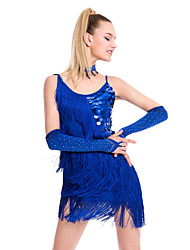 cheap -Latin Dance Dresses Women's Performance Sequined Milk Fiber Tassel Sleeveless Natural Dress