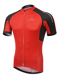 cheap -XINTOWN Men's Short Sleeves Cycling Jersey - Red Green Bike Jersey, Quick Dry, Ultraviolet Resistant, Breathable