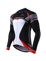 cheap -Mysenlan Men's Long Sleeves Cycling Jersey - Black Green Blue Bike Jersey, Breathable