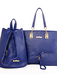economico -Per donna Sacchetti PU (Poliuretano) sacchetto regola Set di borsa da 3 pezzi per Casual Per tutte le stagioni Nero Beige Grigio Blu Rosa