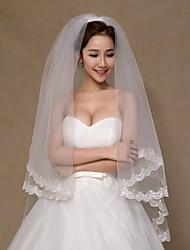 Wedding Veil Two-tier Fingertip Veils Lace Applique Edge Tulle Ivory
