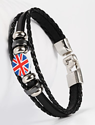 cheap -Leather Leather Bracelet - British The Union Jack Flag Black Brown Bracelet For Wedding Daily Casual