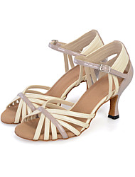 Chaussures de danse(Jaune Ivoire) -Personnalisables-Talon Bobine-Similicuir-Latine